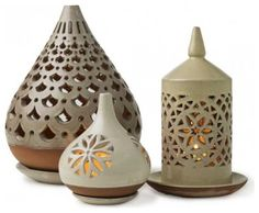 Egyptian Ceramic Lanterns - VivaTerra - eclectic - outdoor lighting - VivaTerra click now for info. Ceramic Lantern, Ceramic Light, Ceramic Lamps, Ceramic Candle Holders, Ceramic Decor, Raku Pottery, Ceramics Projects, Clay Projects, Ceramic Techniques