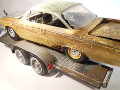 yellow chevy on trailer 1.24 scale model car by classicwrecks