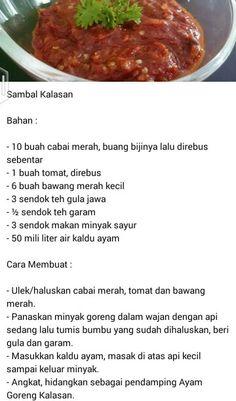 Sambel Kalasan Indonesian Food Traditional, Indonesian Cuisine, Indonesian Sambal Recipe, Asian Recipes, Healthy Recipes, Asian Foods, Healthy Food, Sambal Sauce, Homemade Spices