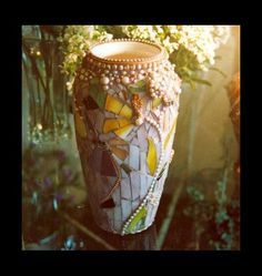 mosaic vase with pearls http://www.scallonart.com/vases.html#