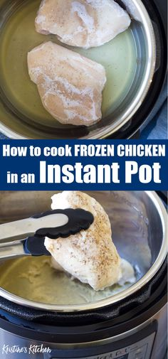 Jan 2020 - How to cook frozen chicken in the Instant Pot - it's so EASY! These instant pot chicken breasts turn out perfect every time. Meal prep a batch for healthy meals during the week. The best way to cook frozen chicken! Instant Pot Pressure Cooker, Pressure Cooker Recipes, Gourmet Recipes, Crockpot Recipes, Ww Recipes, Frozen Chicken Recipes, Crockpot Frozen Chicken, Baking Frozen Chicken, Frozen Chicken Pressure Cooker