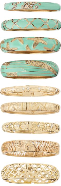 Sequin Assorted Mint and Gold Enamel Bangles LOOKandLOVEwithLOLO: BANGLES by Sequin