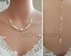 Back Drop Necklace, Pearl Backdrop, Bridal Necklace, Rose Gold, Gold Pearl Necklace, Bridesmaid Jewelry, Wedding Pearl Necklace , Emma Rose