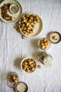coffee candied macadamia nuts | two red bowls
