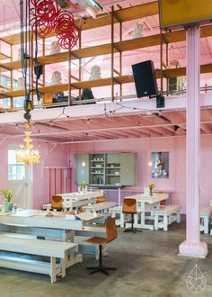 We love the contrast of an industrial structure in the girliest pink shade.