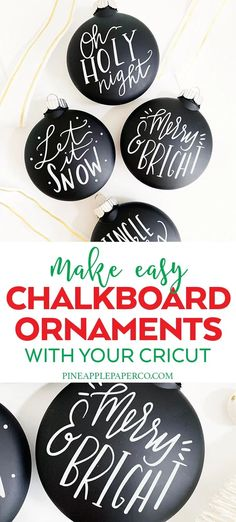 Chalkboard Ornaments DIY - SVG Cut File - Pineapple Paper Co. Make Easy DIY Chalkboard Ornaments with your Cricut with Hand Lettered SVG Cut Files by Pineapple Paper Co. Vinyl Christmas Ornaments, Cricut Christmas Ideas, Letter Ornaments, Farmhouse Christmas Ornaments, Paper Ornaments, Christmas Diy, Homemade Christmas, Christmas Decorations, Personalized Ornaments