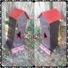 Rustic Storage Box Hinged Primitive Star Door by UniquePrimtiques