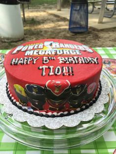 Powe Rangers Megaforce birthday cake.