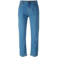 Fendi cropped jeans (€270) ❤ liked on Polyvore featuring jeans, pants, trousers, fendi, blue, cropped jeans, blue jeans, fendi jeans and 5 pocket jeans