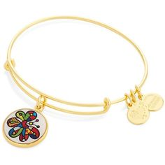 Alex and Ani Butterfly Art Infusion Charm Bangle (105 BRL) ❤ liked on Polyvore featuring jewelry, bracelets, gold, hinged bangle, butterfly bangle, bracelets bangle, bangle jewelry and 24-karat gold jewelry