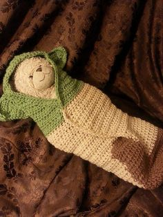 Hand crocheted Yoda inspired baby cocoon/wrap. Extremely soft and cozy its the perfect item your baby is missing. As a Star Wars enthusiast I