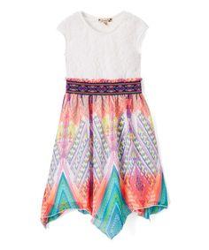 Look what I found on #zulily! Ivory & Pink Geometric Chiffon Cap-Sleeve Dress - Tween #zulilyfinds