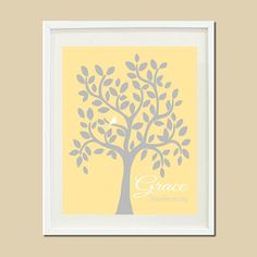 Yellow Gray Grey NAME TREE Personalized Nursery Bird Love Branch Custom Baby Girl Baby Shower Gift Birthday Gift Print Wall Picture Art on Etsy, $22.00