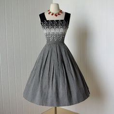 Dress | 1950's Black and White Embroidered Dress