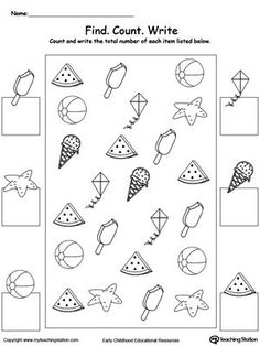 count and write the number of summer items preschool mathprintable worksheets for kindergartensummer - Printable For Kindergarten