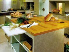 Detalle tabla de cortar - Mesón de cocina