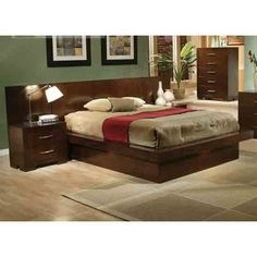 C200711Q Jessica Cappuccino Queen Platform Bed w/Back Panel bed   New $979 Sale $695.25 Friends Discounted Price $521.44