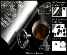 For Whisky Lovers`- Insert & Tag by Claire James 11 piece easy cut, fast kit design with very effective 3D decoupage. This design comes with matching insert & tag.  I hope you enjoy crafting with my products.