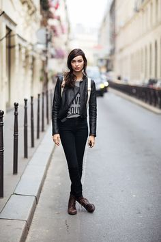 #black #pants #skinny #jeans #leather #jacket #shirt #brown #boots #street #style #womens #fashion #edgy