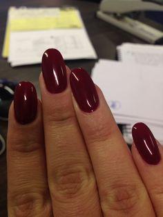 Autumn burgundy oval nails