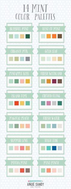 14 Mint Color Palettes by Angie Sandy / ミントカラー カラーパレット Mint Color Palettes, Colour Pallete, Colour Schemes, Color Patterns, Color Combinations, Color Menta, Vibeke Design, Colour Board, Color Swatches