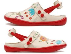 "Cute ""Twins"" slip-ons.  If I were a ba-jillionaire, my daughter would be in Campers at all times."