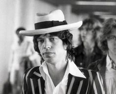 Mick Jagger with unusual Panama Hat shape