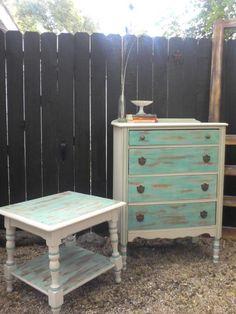 DIY Seafoam bedroom set I painted.