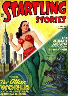 Uncredited artist (probably Earle Bergey), Startling Stories 49-11. The skyscraper in the background is NYC's Chrysler Building.