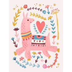 "Oopsy Daisy Pink Llama by Irene Chan Paper Print Size: 21"" H x 17"" W x 0.07"" D"