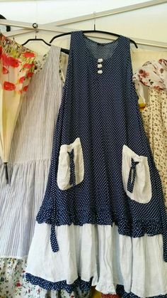 Basic dress with contrast ruffle on skirt and pockets | Reminds me of the Dottie Angel dress