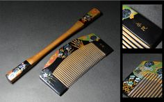 Keio ◆ era Sokami-gu 8 [Ei抱] work gold and silver mother-of-pearl crafted flowers Makie comb 笄揃