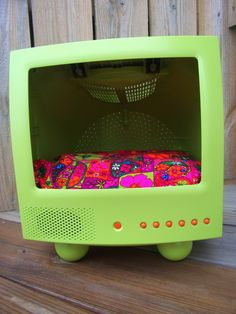 Recycled T.V. Pet Bed - Teacup - Micro Mini - Chihuahua - Upscaled t.v. - Kitschy - Lime - Hot Pink
