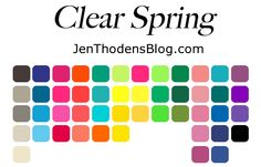 Bright Spring Seasonal Color Palette - JenThodensBlog.com - Discover if you are a clear spring.
