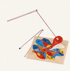 Rybičky s udičkou - puzzle / drevo