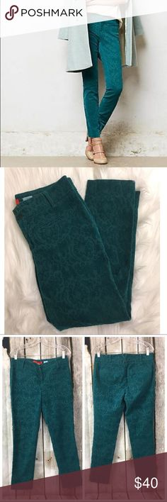 Anthro Cartonnier Charlie Ankle Flocked Teal Pants Size 8, gently used condition.   Waist across is 16 in, Rise is 9 in and Inseam is 26 in. Anthropologie Pants Skinny