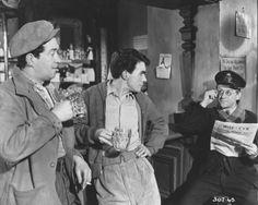 John Gregson John Cairney & Cyril Cusack in Miracle In Soho John Gregson, Cyril Cusack, Stanley Baker, Herbert Lom, Soho, Movie Stars, Stage, British, Tv