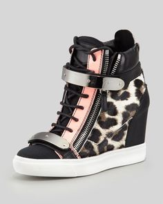 Leopard-Print Calf Hair Wedge Sneaker, Black/Pink by Giuseppe Zanotti at Neiman Marcus.