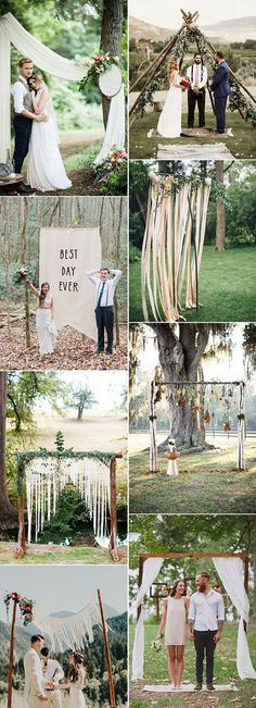 simple rustic boho wedding arch decoration ideas