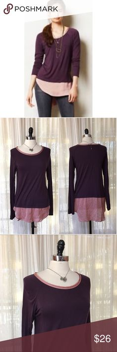 NEW LISTING💜{Bordeaux} Anthropoloagie Avaline Top Size medium. Bordeaux from Anthro. Avaline satin trim tunic top. So soft jersey top is complete with a shimmery satin hem & trim. Pullover styling. Rayon, spandex, polyester. $68 (3.5.0)  💟Fast 1-2 day shipping 💟Reasonable offers accepted 💟Purchase 3 or more items & get a special bundle rate!  💟Smoke-free home Anthropologie Tops Tunics