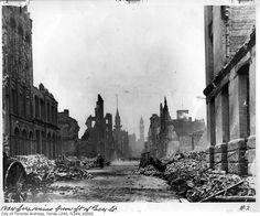 Toronto Fire ruins, looking north from foot of Bay Street Photographer: William James 1904