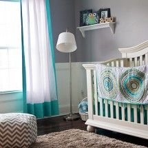 Love the turquoise and gray color scheme and absolutely love the bedding(Land of Nod) - how fun!