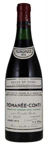 1972 Domaine De La Romanée-Conti Romanée-Conti. Type: Red Wine, Pinot Noir, Grand Cru, 750ml. Region: France, Burgundy, Cote d'Or, Cote de Nuits, Vosne-Romanée, Romanée-Conti. 7.000$ (175.000 Kc)