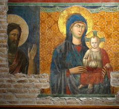 Fresco of Madonna and the Child by Pietro Cavallini. Santa Maria in Aracoeli, Roma History Images, Art History, Rome, Baptism Of Christ, Noli Me Tangere, Giorgio Vasari, Late Middle Ages, Italian Painters, Madonna And Child