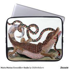 Maria Merian Crocodile v Snake Laptop Computer Sleeves