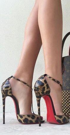 greatlegsandhighheels: Great gams sporting t-strap leopard print Louboutins inhershoesbrazil