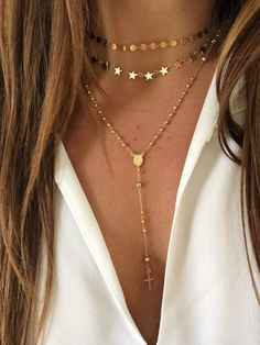 Gold Rosary Necklace - N&K Designs Gold Rosary Necklace, Twinkle Twinkle Little Star, Chain Earrings, Body Art Tattoos, Chokers, Women Jewelry, Mary, My Style, Bracelets