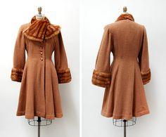 vintage 1940s coat / 1940s wool and mink coat / 40s by cutxpaste