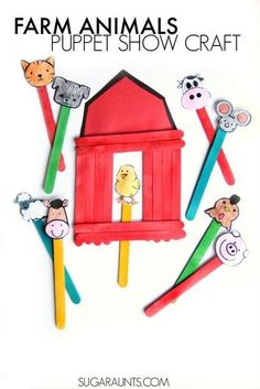 Big Red Barn Book activity with a barn craft and farm animal puppets. Preschool (and older ki… Big Red Barn Book activity with a barn craft and farm animal puppets. Preschool (and older kids! Farm Animals Preschool, Farm Animal Crafts, Animal Crafts For Kids, Farm Animals For Kids, Animal Activities For Kids, Preschool Farm Theme, Farm Kids, Children Activities, Kids Crafts
