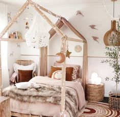Talk about a magical bedroom space for your little one! This toddlers bedroom is perfect for that little Boho Babe with its beautiful pinks and timbers throughout! The two-tone wall really gives it that added kick for character and personalisation, not to Teen Girl Rooms, Little Girl Rooms, Modern Girls Bedrooms, Cute Rooms For Girls, Room Ideas For Girls, Cool Kids Bedrooms, Kid Bedrooms, Magical Bedroom, Whimsical Bedroom